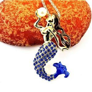 Jewelry - CURVY Nude Mermaid Blue Crystal Necklace / Brooch